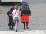 Women leaving Cristo Liberador  Episcopal Church in Comite del Pueblo