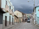 The streets of Guamote before a  storm.