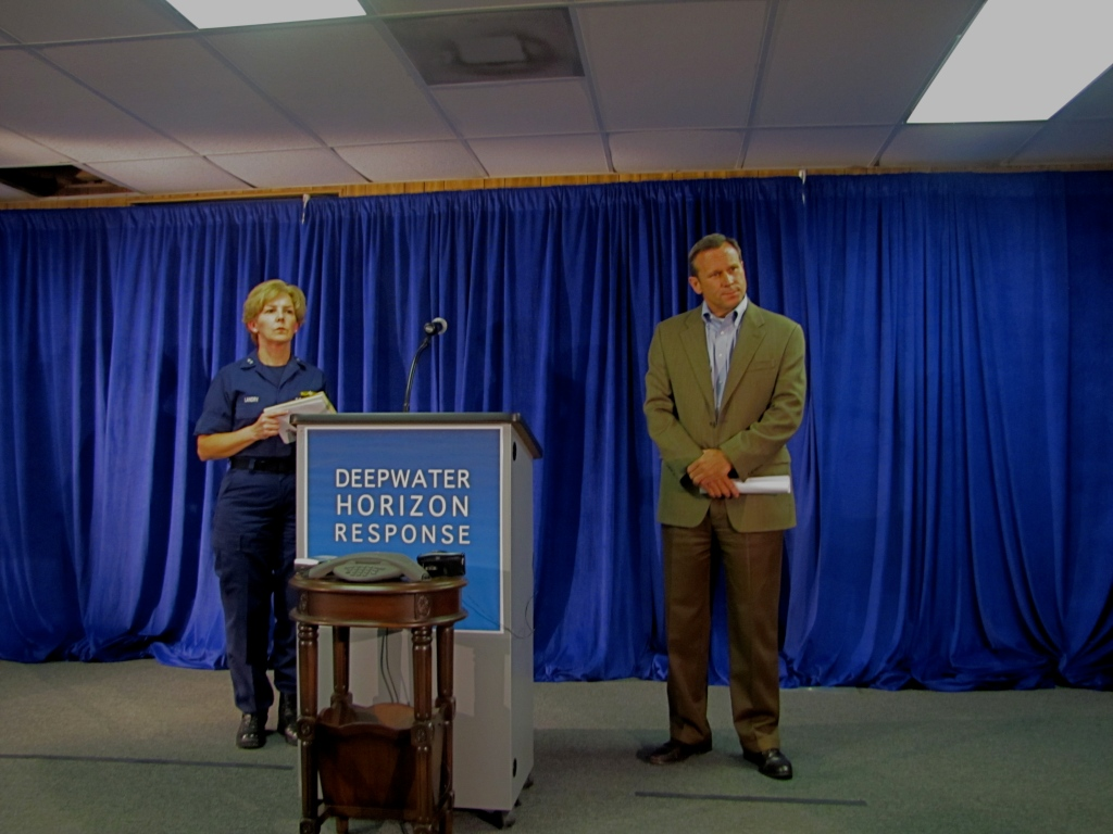 Coast Guard Rear Adm. Mary Landry and BP COO Doug Suttles at a press briefing in Robert, La. (Photo by Becky W. Evans)